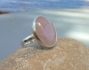 Rose quartz ring, love ring, love gemstone ring, pink quartz ring, sterling silver ring, girlfriend ring