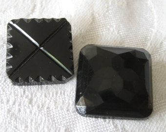 2 ANTIQUE Square Black Glass BUTTONS