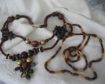 Lot of 2 VINTAGE Beaded Wood Costume Jewelry Necklaces