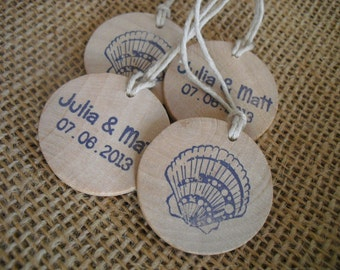 Beach Seashell Wedding Favor Tags Personalized Wood Circles - Set of 10 - Item 1546