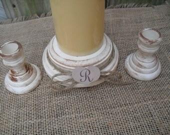 Shabby Chic Wood Wedding Monogram Unity Candle Holder Set - You Pick Color - Item 1559