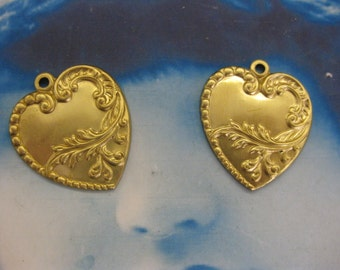 Raw Brass Floral  Heart Charms 1168RAW  x2