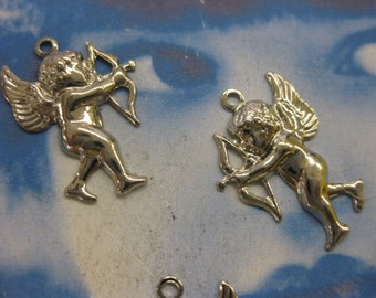Clearance Closeout Silver Plated Cupid Charms 447SIL x6