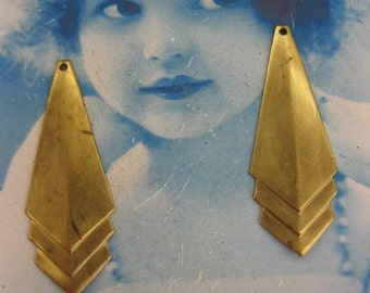 Raw Brass Art Deco Style Stamping Drops 1061RAW x2