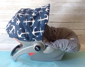Infant CarSeat Cover, Baby CarSeat Cover in Anchor Blue w/ grey minky