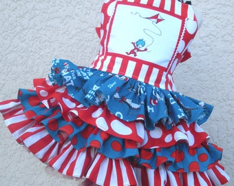 Made to Order Infant Toddler  Cat in Hat Thing 1  2 Dress Seuss 4 Ruffles Size  12 mo 18 mo 24 mo   2 or 3