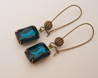 Vintage Blue Zircon Faceted Crystal in Antiqued Brass Prong Setting Earrings.
