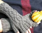 Tweed Cables   Cable Knit Fingerless Gloves in Graphite Tweed Peruvian Wool, Womens Mittens, Arm Warmers - Ready to Ship