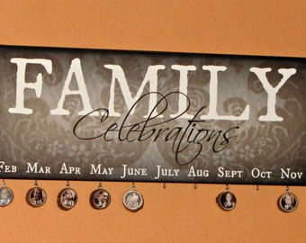 "FAMILY CELEBRATIONS Sign Only- Giclee MoUNTED prints- 8"" x 24"""