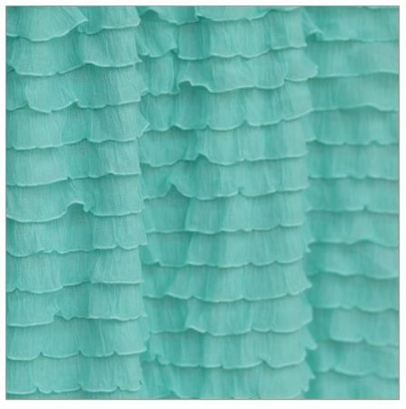 items similar to ruffle shower curtain panel mint green for girls