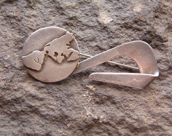 Brooch, Pin, Vintage Mexico Sterling Silver Brooch