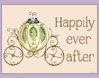 Princess Wall Art, Happily Ever After Regal Coach, Carriage Canvas Wall Art by Sherri Blum, Lavender