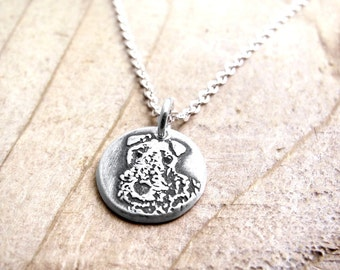 Tiny Airedale necklace, Airedale jewelry, silver dog necklace, remembrance jewelry, pet memorial