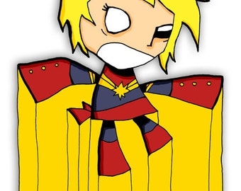 Captain Marvel Super Hero Illustration Avengers Print