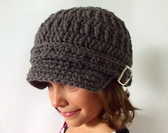 Toddler Hat Toddler Newsboy Hat Toddler Newsboy Cap Toddler Girl Hat Toddler Boy Hat 2T to 4T Crochet Newsboy Elephant Gray Toddler Cap