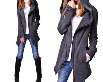 Black swan - thick cotton fleece jacket / diagonal zip hoodie (Y3119)