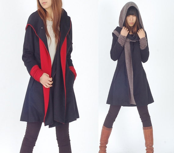 Far Away from Home - quilited woolen jacket / cashmere hood coat / (Y1121)