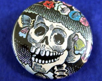 Catrina Close-Up Day of the Dead Pinback Button - Package of 2