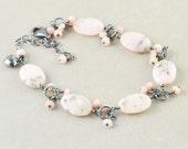 Pink Opal Bracelet, Oxidized Sterling Bracelet, October Birthstone