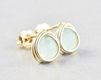 Aqua Studs, Mint Quartz Post Earrings, Mint Studs, Green Posts