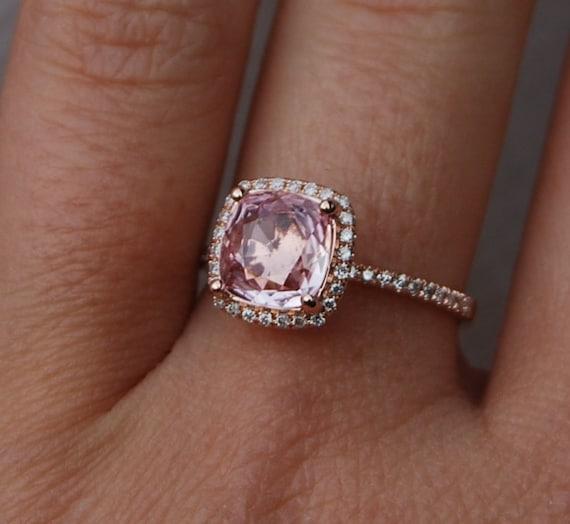 2.63ct Square Cushion Peach Champagne Sapphire 14k rose gold diamond Engagement Rings by Eidelprecious