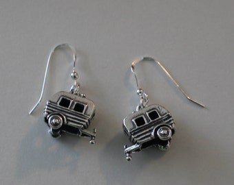Sterling Silver 3d SHASTA, SCOTTY CAMPER Earrings - Glamper
