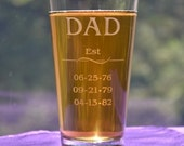 Established Dad's Pub Glass with Kid's Birthdates, Father's Day Gift, Birthday, New Dad, First Dad Gift, Grandpa, Papa Daddy, Mother's Day