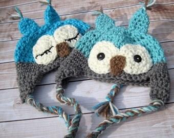 Twin Boy Baby Hats, Crochet, Twin Hat Set, Twin Baby Hats, Baby Boy Hats, Baby Owl Hats, Twin Owl Hats, Newborn Twin Hats, Infant Hat, Blue