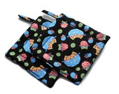 Quilted Pot Holders Set of 2 Owl Black Whimsical Blue Yellow Green