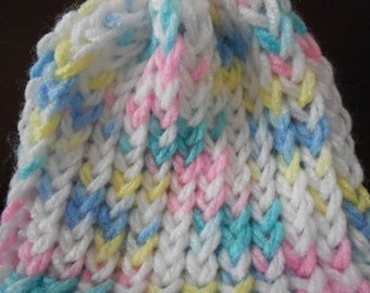Knitted infant/doll hat multi color