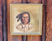 The Brave. Portrait painting of a Native American, ca, early 20th Century.