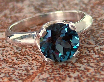 2ct London Blue Topaz Sterling Silver Ring, Cavalier Creations