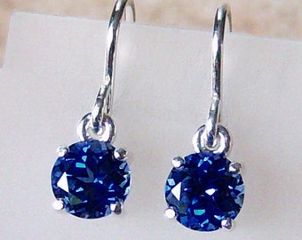 6mm Diamond Faceted Lab Blue Sapphire Sterling Silver Dangle Earrings, Cavalier Creations