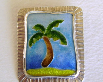 Cloisonne enamel jewelry brooch pendant necklace.