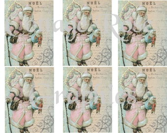 Pink Santa Noel Christmas greeting card sheet Large digital download 3.5 x 4 inches ECS buy 3 get one free