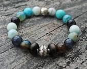 Blue and Grey Stretch Mala Bracelet