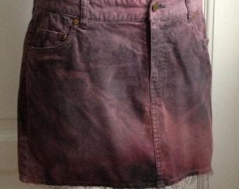 Warrior Elven Hand Dyed Ombre Pixie Batik Mini Corduroy Skirt
