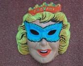 Vintage Beauty Queen 1960s Plastic Halloween Mask