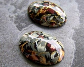 Vintage Rare West German Floral Decal Oval Lucite Cabochons- Abstract Floral-Earth Tone-24mm x 17mm-2 Cabochons