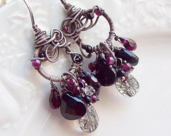 The Midnight Moon Black and red Gemstone Earrings