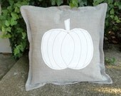 Neutral Pumpkin Pillow Custom Linen Pillows Decorative Pillows Holiday Decor French Country Prairie Natural Flax Linen Fall Pillow Cover