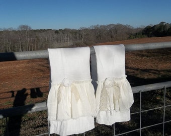 Double Ruffled Linen Towel Shabby Tea Towels Cottage Chic Hand Towel French Country Handmade Bath Décor Torn Ruffle Tea Towel