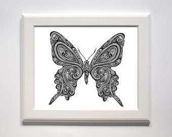 8x10 Butterfly Doodle Print