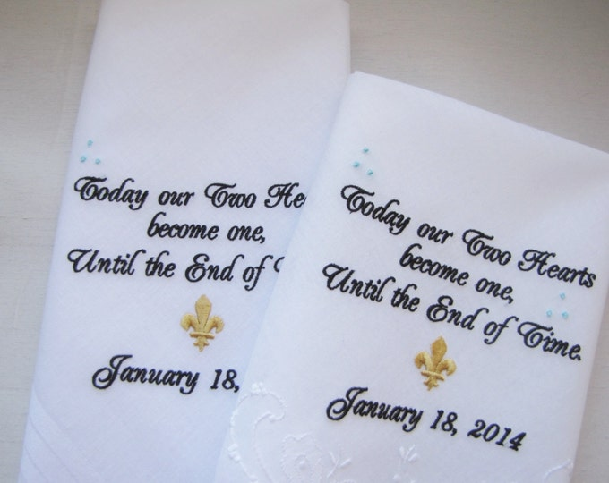 Two Personalized Custom Bride Groom Wedding Handkerchiefs