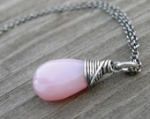 Pink Peruvian Opal Oxidized Sterling Wire Wrapped Necklace