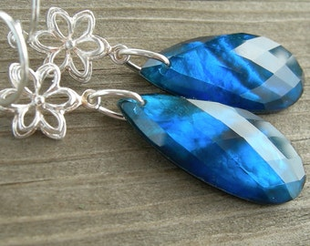 London Blue Topaz Mother of Pearl Doublet Flower Sterling Silver Earrings