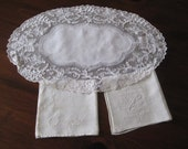 Antique Net Lace - Princess Lace - Ecru Cream Doily - Netting Mesh 12 inches