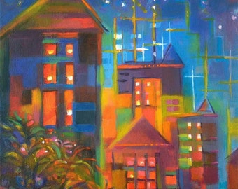 Night Cityscape Jewels painting