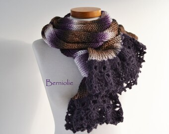 Knitted scarf, browns, creme and purple with purple lace crochet trim K94