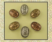 Beads Engraved Ovals 3T Burnished Silver Copper Gold ~ Flower Scroll Swirl Patterns ~ 2 Hole Sliders ~ QTY 6